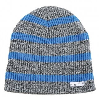 Daily Stripe Beanie - grey blue