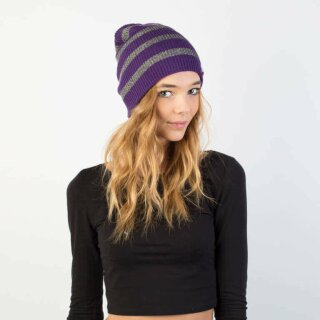 Daily Sparkle Stripe Beanie - purple grey