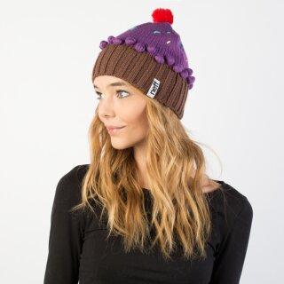 Cupcake Beanie - neon purple