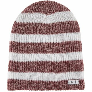 Daily Stripe Beanie - maroon white