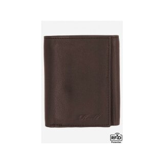 Mini Trifold Leather Wallet - brown